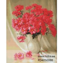 Teemant mosaiik-vaas lilledega, 40x50